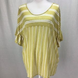 Lucky Brand  Striped V-Back Ruffle Top Yellow XL